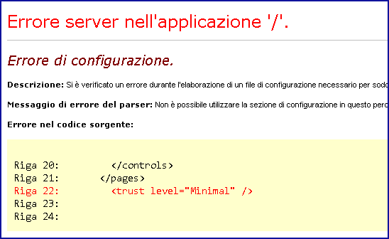 Errore di configurazione trust level