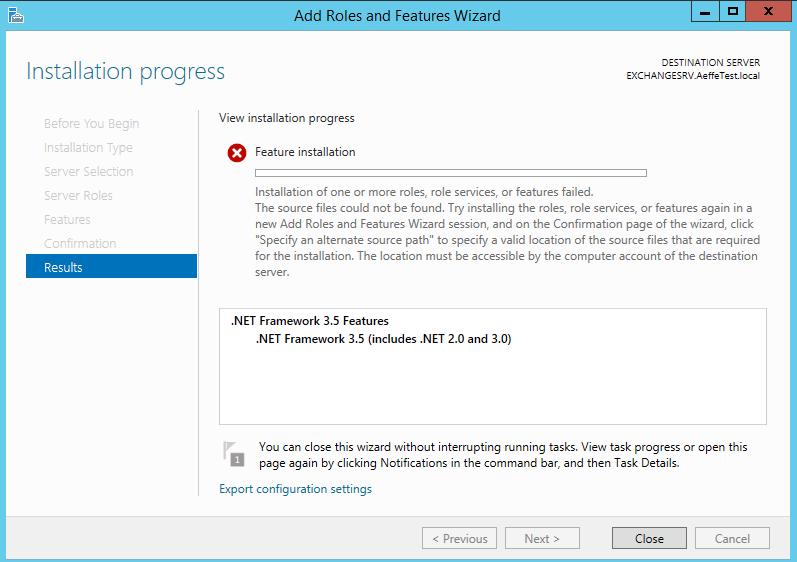 Come installare .NET Framework 3.5 in Windows Server 2012 R2